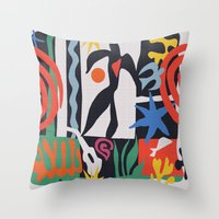 matisse Throw Pillows featuring inspired to Matisse (black) by Chicca Besso