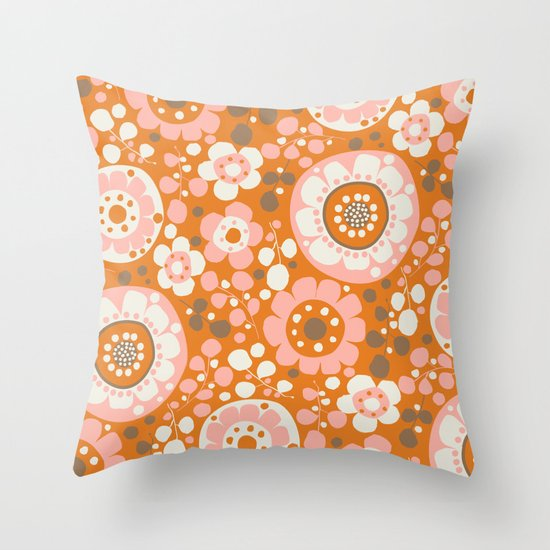 retro flower-java Throw Pillow