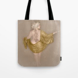 """Golden Goddess"" - The Playful Pinup - Majestic Curvy Pin-up Beauty in Gold by Maxwell H. Johnson Tote Bag"