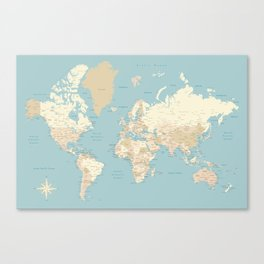 "Cream, brown and muted teal world map, ""Jett"" Canvas Print"