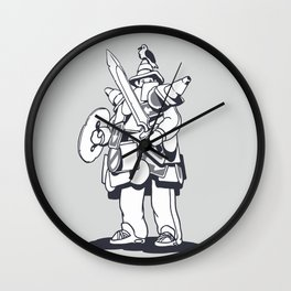 The Traffic Sign Warrior Comic Line Art Wall Clock