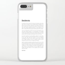 Desiderata #minimalism Clear iPhone Case
