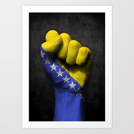 Bosnian Flag on a Raised Clenched Fist Art Print