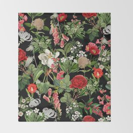 Botanical Pattern Throw Blanket