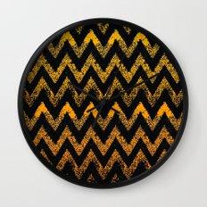 black and gold chevron Wall Clock