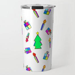 Ho Ho Ho Merry Christmas Illustration Colorful Pattern Travel Mug