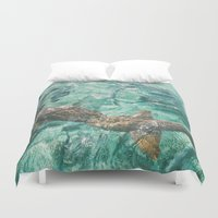 sharks Duvet Covers featuring Sharks by Chelle Wootten