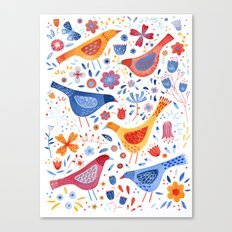 Birds in a Garden Canvas Print
