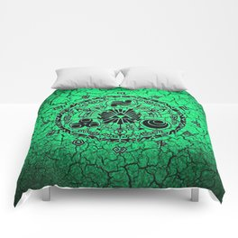 Green Circle Of Triangle Comforters
