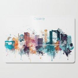 Osaka skyline watercolour Cutting Board