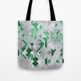 Abstract Geometric Malachite and Mother of pearl Tote Bag