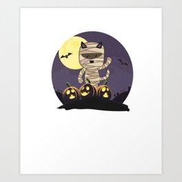 Cute Spooky Cat Mummy Jack O Lantern Pumpkin Halloween Art Print