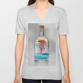 Electric Jellyfish Worlds in  a Bottle Unisex V-Neck