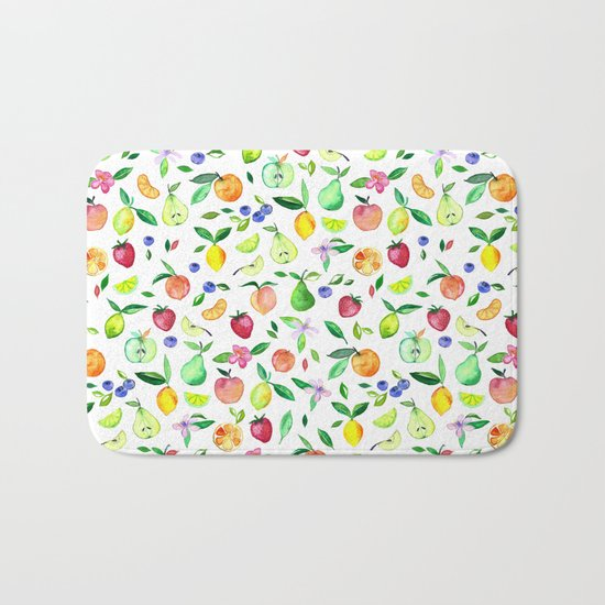 Fresh Fruit - a watercolor pattern Bath Mat
