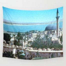 Akka. Carmel range across the bay Wall Tapestry
