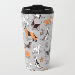 Origami doggie friends // grey linen texture background Travel Mug