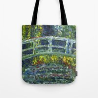 monet Tote Bags featuring Monet Interpretation by Britt Miller Art
