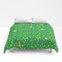 animal crossing cute grass pattern Comforters