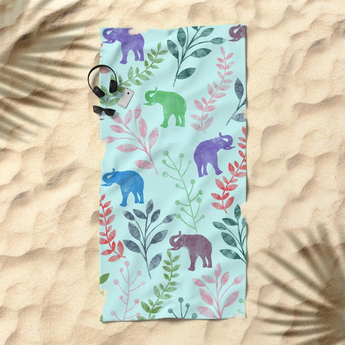 Watercolor Flowers & Elephants II Beach Towel