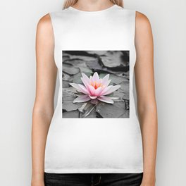 Pink Lotus Flower Waterlily Biker Tank
