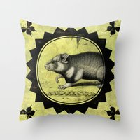 hamster Throw Pillows featuring Little Hamster by Connie Goldman