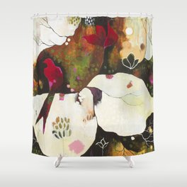 """Witnessing Skies of Birds"" Original Painting by Flora Bowley Shower Curtain"