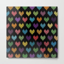 Colorful Knitted Hearts Metal Print