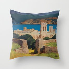 West Point Vintage Travel Poster Throw Pillow