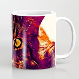 squinting maine coon cat vector art late sunset Coffee Mug