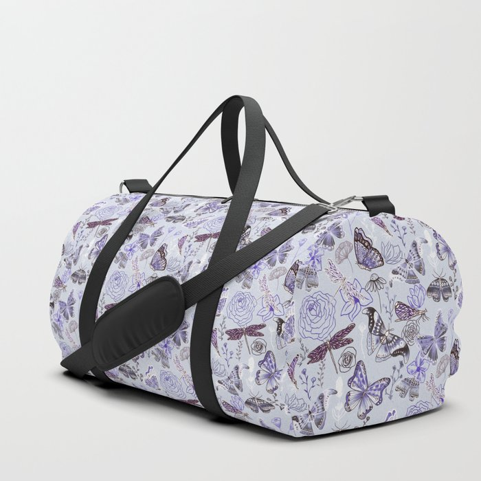 Dragonflies, Butterflies and Moths With Plants on Pale Blue Duffle Bag