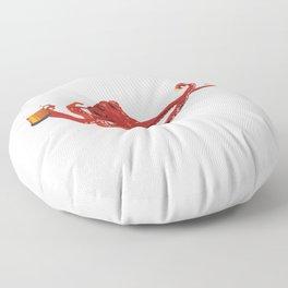 Red octopus beer lover Floor Pillow