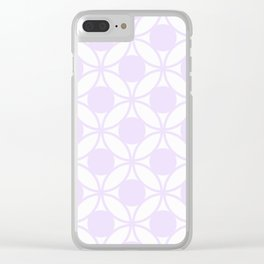 Geometric Circles In Delicate Pale Lilac and White Clear iPhone Case
