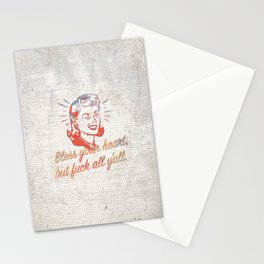 Bless your heart, but fuck all y'all. - Passive Aggressive Southern Hospitality with a Wink Stationery Cards