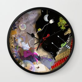 beautiful woman floating among abstract objects, raster illustration Wall Clock