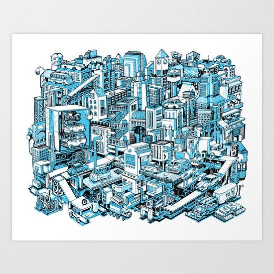 City Machine - Blue Art Print