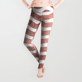 Chic stylish faux rose gold modern wave stripes Leggings