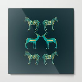 Teal and Gold Savanna Metal Print
