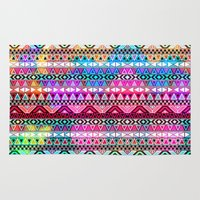 stickers Area & Throw Rugs featuring  Neon Aztec | Purple Pink Neon Bright Andes Abstract Pattern by Girly Trend