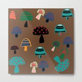 Cute Mushroom Brown Metal Print