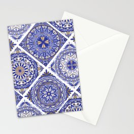 Blue and Gold Glitter Tile Mural Stationery Cards