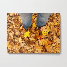 Stand in the Leaves Metal Print