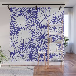 Blue and White Zinnias Toss Wall Mural