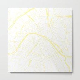 Paris France Minimal Street Map - White on Yellow Metal Print
