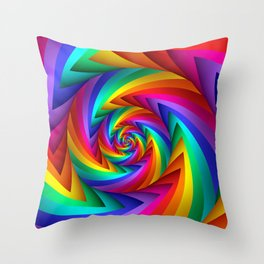 Psychedelic Rainbow Fractal Spiral  Throw Pillow