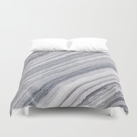 geology Duvet Covers featuring Grey Marble by Santo Sagese