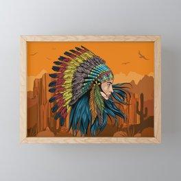 Native american warrior Framed Mini Art Print