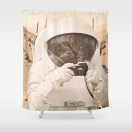 Astronaut Cat on Mars Shower Curtain