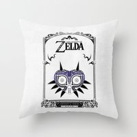 majora Throw Pillows featuring Zelda legend - Majora's mask by Art & Be