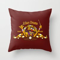 drums Throw Pillows featuring Crazy Drums by ikado