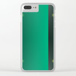 green pattern, shiny stars christmas pattern Clear iPhone Case